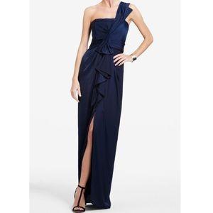 BCBG Barbara one shoulder satin evening gown